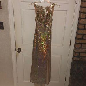 Gold Sequin Low Back Prom Formal Dress